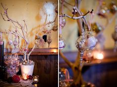 These ornaments could be made at a reception or rehersal dinner. They would also make great centerpieces.!