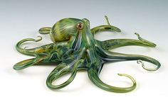 Torch-Worked Glass Green Ripple Octopus by Scott Bisson.