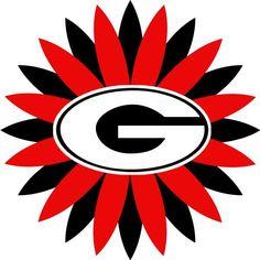 UGA flower :) Georgia Bulldogs Hat, Bulldogs Football, Uga Bulldog, Tailgate Decorations, Bulldog Wallpaper, Georgia Girls, Vinyl Monogram, Heart Logo, University Of Georgia