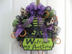Halloween Deco Mesh Wreath  Black purple and by BabesnBowsBoutique