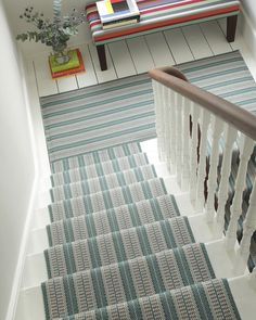 Vernon Teal is a bold repeating stripe, reinvented and recoloured from an original Roger Oates Archive design. A contemporary Teal Green. When joined by hand for rugs, landings and wall to wall this design repeats seamlessly. Striped Carpet Stairs, Striped Carpets, White Carpet, Diy Carpet, Carpet Ideas, Stair Landing, Modern Staircase, Staircase Ideas, Cheap Carpet Runners