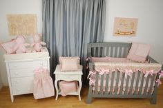 Blush floral satin scallop crib rail guard and coordinating nursery accessories