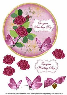 Cerise Rose Wedding Day 7in Circle Decoupage Topper on Craftsuprint - Add To Basket!
