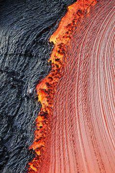River of molten lava, close-up, Kilauea Volcano, Hawaii Volcanoes National Park, The Big Island, Hawaii.
