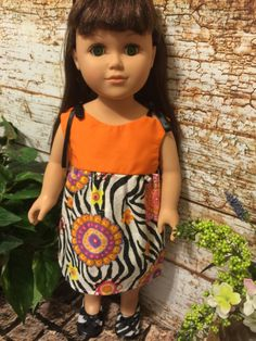 """18"""" Doll Clothes, Zebra and Orange Doll Dress, 18"""" Doll Dress, Ready to Ship, Handmade Doll Clothes by sassydollcreations on Etsy"""