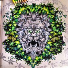 Lion. Enchanted Forest. Leão. Floresta Encantada. Johanna Basford