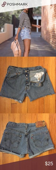 """Vintage Levi's 501 Cutoffs Shorts Style #: iconic 501 Size Marked: 32x34 Modern Size BEST FIT: 28/6 Apx. measurements when laying flat: 15"""" across waistband 10"""" front rise  4"""" inseam 20.5"""" across bottom of back pockets Condition: excellent vintage 🎉Perfect High-Waisted Cutoffs! Cut or roll them to your perfect length! Check out my closet for other vintage denim in a VARIETY of styles and sizes. Price is firm so bundle for a discount!! Cover photo shows style inspo only, rest are mine…"""