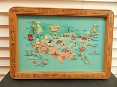 Vintage United Airlines Framed US Map w/Raised Graphics Travel Agent Promo TIKI