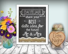 Date Jar Sign Chalkboard Printable 8x10 Pdf Instant Burlap Lace Rustic Shabby Chic Woodland On Etsy 10 00