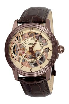 Men's Winchester Bridge Leather Strap Mechanical Watch