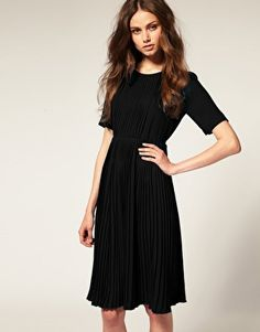 ASOS Short Sleeve High Neck Pleated Midi Dress! Love!