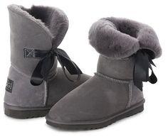 Betty Bow Grey Boots, Australian Made Sheepskin #aussie #australianmade #sheepskin #boots #comfy #shoesaholic #shortboots #bow #lace #cute #mood #grey #greyboots #styling #fashion #outfit #fashioninspiration