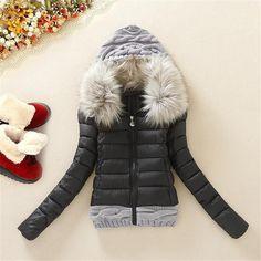 $57.00 (Buy here: https://alitems.com/g/1e8d114494ebda23ff8b16525dc3e8/?i=5&ulp=https%3A%2F%2Fwww.aliexpress.com%2Fitem%2FWinter-jacket-women-new-short-paragraph-cotton-wool-stitching-down-jacket-fur-collar-Slim-fit-winter%2F32233263604.html ) Winter Jacket Women 2016 Short Jacket Female Cotton Wool Stitching Women's Down Jacket Fur Collar Winter Coat Plus Size DM857 for just $57.00
