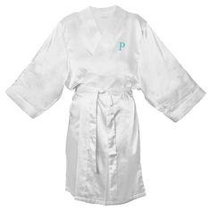 Monogram Bridesmaid L/XL Satin Robe - P, Size: Lxl - P, White