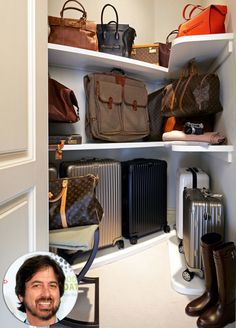 Everybody loves… luggage? That's the case for the actor, who worked with Adams to turn a 40-square-foot space into a storage space for his travel accessories. Adams added custom angled and curved shelving into the space, as well as wall hooks for hanging backpacks or tote bags. A bottom shelf spacious enough to fit the actor's largest luggage.