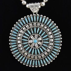 RARE Navajo Needlepoint Broach Pin by Charlie John $600.00 #alltribes #nativeamericanjewelry
