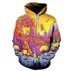Rick And Morty Trippy Alien Planet Sweatshirt Hoodie. Pánské Mikiny ... c542dc2dc9