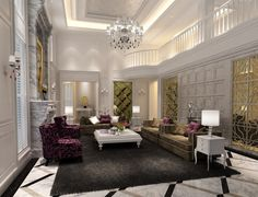 Luxury living room with high ceilings and a marble floor  #marble #floor #home #interior #naturalstone