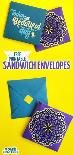 I use these free printable sandwich envelopes as a recyclable alternative to sandwich bags - plus my son loves them! They are a really great way for moms to make lunch a little more fun and special. You can use these free printable square envelopes for note cards and staionery too - one has a fun typography message and one has pretty mandala art on it. Sponsored by Uncrustables