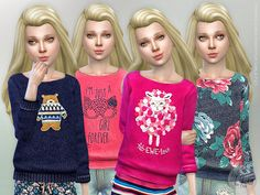 Printed Sweatshirt for Girls P21  Found in TSR Category 'sims 4 Female Child Everyday'