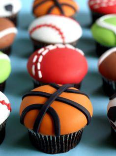 Basketball cupcakes http://butterheartssugar.blogspot.com.au/2013/01/sports-ball-cupcakes.html