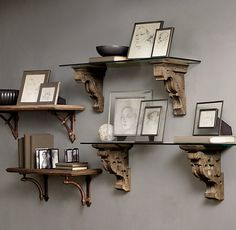 Gothic Corbel & Glass Shelf and Aris Corbel & Glass Shelf | Restoration Hardware | 99.00-179.00 ea.