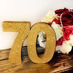 70th birthday decoration Large glitter by SimplySpecialBoutiq