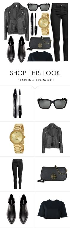 """""""All Black"""" by jomashop ❤ liked on Polyvore featuring Lancôme, Burberry, Anne Klein, Topshop, Tory Burch, NIKE, casual and black"""