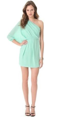 Diane von Furstenberg (DVF) Akela One Shoulder Mint Cocktail Dress - Perfect for a wedding guest or a date