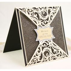 Crafters Companion Diesire 'Create-a-Card' Metal Die - Bordeaux companion wedding card Country View Crafts Fancy Fold Cards, Folded Cards, Wedding Anniversary Cards, Wedding Cards, Wedding Bells, Wedding Invitations, Crafters Companion Cards, Card Creator, Spellbinders Cards