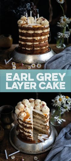 Earl Grey layer cake with vanilla Swiss buttercream and Earl Grey caramel Layer Cake Recipes, Dessert Cake Recipes, Delicious Cake Recipes, Best Cake Recipes, Cupcake Recipes, Yummy Cakes, Easy Desserts, Sweet Recipes, Layer Cakes