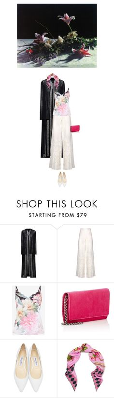 """""""Untitled #2231"""" by hologrammar ❤ liked on Polyvore featuring Rick Owens, ViX, Ted Baker, Barneys New York, Jimmy Choo and Gucci"""