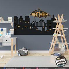Childrens Room Decor, Boys Room Decor, Kids Bedroom, Nursery Wall Decals, Vinyl Wall Decals, Wall Stickers, Superhero Boys Room, Batman Stickers, Traditional Wallpaper