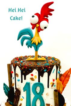 I made this fun chicken cake for my daughters She's not a huge cake fan so I decided to make it a chocolate chip cookie layer cake. Super yummy and perfect alternative! - We also have a chicken that looks just like Hei Hei, his name is Small Fry ☺️ Birthday Party Desserts, 6th Birthday Parties, Birthday Cake, Moana Party, Drip Cakes, Bolo George Pig, Moana Cake Design, Kreative Desserts, Huge Cake