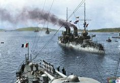 """French battleship """"Bouvet"""" in the Dardanelles, B.N. france, coulorised by Rouyston Leonard, Uk"""