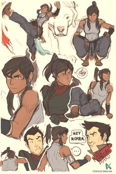"""HEY KORRA."" Drawn from memory, no reference (except for Naga.)  I can never take Mako seriously."