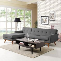 Modway Engage Mid-Century Modern Upholstered Fabric Left-Facing Sectional Sofa In Gray Sectional Sofa With Chaise, Sofa Set, Couches, Living Room Furniture, Furniture Sets, Modern Furniture, Living Room Sets, Decor Interior Design, Mid-century Modern