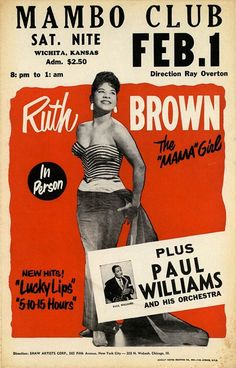 1957 Ruth Brown Concert Poster.