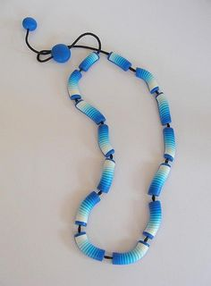 Blue Gradient necklace    polymer clay and cotton cord