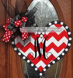 Monogrammed Chevron Valentine Door Hanger Valentines Day Decorations, Valentine Day Crafts, Valentine Wreath, Holiday Crafts, Holiday Wreaths, Happy Valentines Day, Valentine Ideas, Valentine Heart, Holiday Ideas