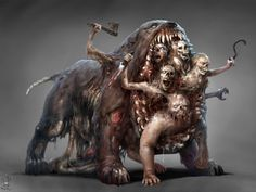 ArtStation - The Bowers and their Dog, Guillaume Ducos, it's unbelievable how many of these creatures are so disgusting and yet so amazing at the same time. Dnd Monsters, Horror Monsters, Fantasy Monster, Monster Art, Fantasy Creatures, Mythical Creatures, Dark Fantasy, Fantasy Art, Monster Design