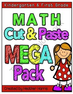 Math Cut and Paste MEGA Pack from TeachingMy3 on TeachersNotebook.com (113 pages)  - cut and paste math activities for kindergarten and first grade place value, rounding, least to greatest, time, money, base 10 and more