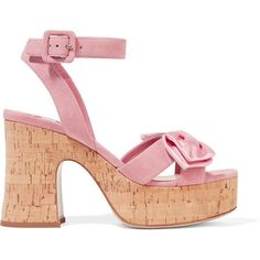 Miu Miu Satin-trimmed suede and cork platform sandals ($455) ❤ liked on Polyvore featuring shoes, sandals, heels, baby pink, platform heel sandals, heeled sandals, strappy platform sandals, platform shoes and high heels sandals
