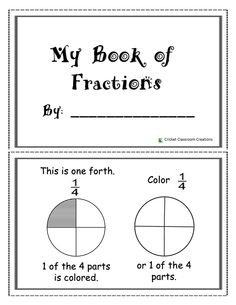 Fraction Booklet: Ideal for First Graders.