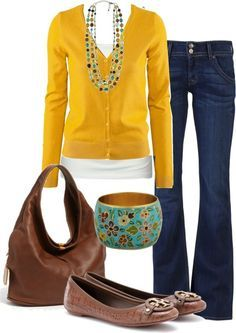 I like the jeans & the idea of the layered tops, though I don't love the yellow color. The bracelet is gorgeous though.