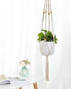 macrame wall five plant hanger ombre personalized window custom boho style 5 plant holder wall hanging