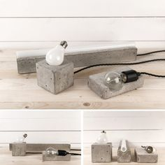Concrete Lamps by Henrik Karlsson A result of the designer's exploration of minimal Scandinavian design and imperfect concrete. Each are handmade and unique. Concrete Stool, Concrete Light, Concrete Furniture, Concrete Cement, Concrete Projects, Concrete Design, Plywood Furniture, Plywood Floors, Kid Furniture