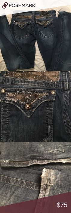 Miss Me camp jeans These distressed jeans are a dark denim with camp and sparkle accents.  Worn twice.  100% authentic.  Size 30. Miss Me Jeans Boot Cut