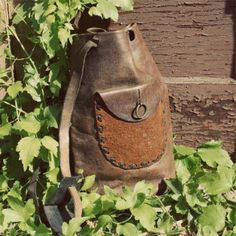 vintage 70's leather sling tote
