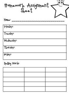 Weekly homework assignment sheet